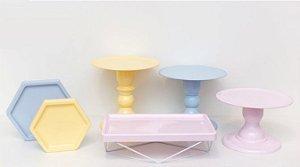 Kit Comemore MAIS - 20 Azul Candy, Creme e Rosa Candy - 01 Unidade - Só Boleiras - Rizzo Festas