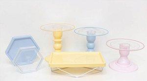 Kit Comemore MAIS Clean - 34 Colors Azul Candy, Creme e Rosa Candy - 01 Unidade - Só Boleiras - Rizzo Festas