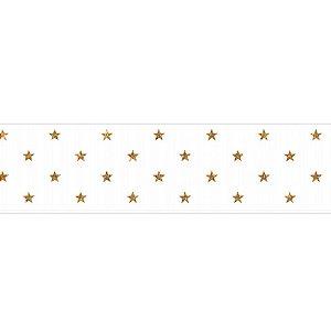 Fita de Natal em Cetim Branca Estrela Dourada EGP009SG 028 - 38mm x 10m - Progresso