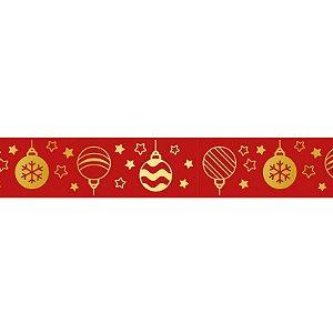 Fita de Natal em Cetim Vermelha Bola de Natal ECF005H 749 - 22mm x 10m - Progresso