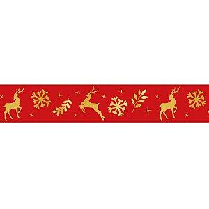 Fita de Natal em Cetim Vermelha Renas ECF005H 747 - 22mm x 10m - Progresso