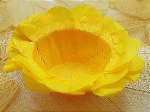 Forminha para Doces Floral em Seda Amarelo Ouro - 40 unidades - Decorart - Rizzo Embalagens