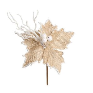 Flor Cabo Curto Natural E Branco 20cm - 01 unidade - Cromus Natal - Rizzo Embalagens