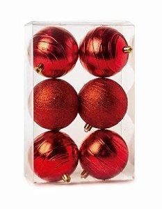 Bola Listras Brilhante e Glitter Vermelho 8cm - 06 unidades - Cromus Natal - Rizzo Embalagens
