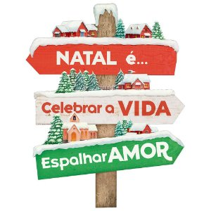 Placa Decorativa em MDF - Decor Home Natal - Natal é Celebrar - DHN-034 - LitoArte - Rizzo Embalagens