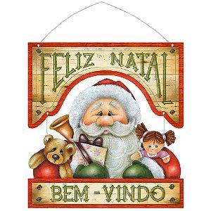 Placa Decorativa em MDF - Decor Home Natal - Bem Vindo - DHN-013 - LitoArte Rizzo Embalagens