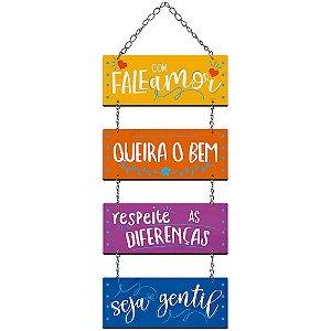 Placa Decorativa em MDF - Fale com Amor, Queira o Bem- DHPM5-361 - LitoArte - Rizzo Embalagens