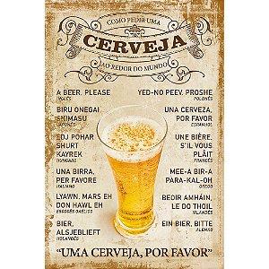 Placa Decorativa em MDF - Poster Cerveja pelo Mundo - DHPM5-137 - LitoArte - Rizzo Embalagens