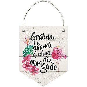 Placa Decorativa em MDF - Flamingo e frase gratidão - DHPM5-225 - LitoArte - Rizzo Embalagens