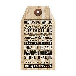 Placa Decorativa em MDF - Regras da Família - DHPM5-238 - LitoArte - Rizzo Embalagens