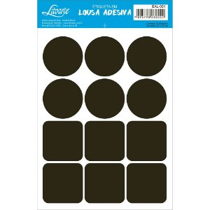 Etiqueta Lousa Adesiva em Vinil - Círculo/ Quadrado - EAL-001 - LitoArte - Rizzo Embalagens