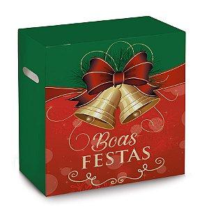 Caixa para Cesta de Natal - Boas Festas - 30x19x38cm - 01 unidade - Cromus Natal - Rizzo Embalagens