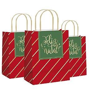 Sacola de Papel Feliz Natal - 10 unidades - Cromus Natal - Rizzo Embalagens