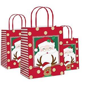 Sacola de Papel Amigos - 10 unidades - Cromus Natal - Rizzo Embalagens