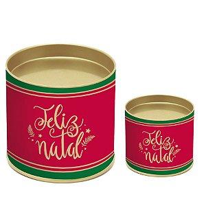 Lata para Panetone Feliz Natal - 01 unidade - Cromus Natal - Rizzo Embalagens