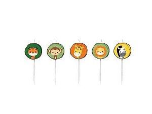 Vela 2D Kit c/ 5 unidades Festa Safari 2 - Cromus - Rizzo Festas