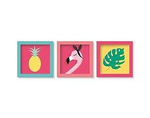 Quadro Decorativo - Festa Tropical Flamingo - 03 unidades - Cromus - Rizzo Festas