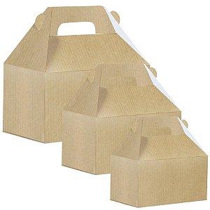 Caixa Maleta Kids Kraft Liso - 10 unidades - Cromus - Rizzo Embalagens
