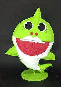Tubarão Verde Baby Shark em Feltro - 01 unidade - Pé de Pano - Rizzo Embalagens