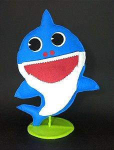 Tubarão Azul Baby Shark em Feltro - 01 unidade - Pé de Pano - Rizzo Embalagens
