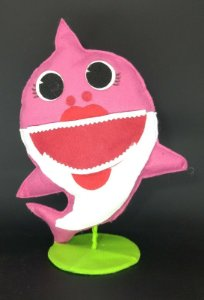 Tubarão Rosa Baby Shark em Feltro - 01 unidade - Pé de Pano - Rizzo Embalagens