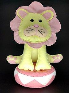 Leão Circo Rosa em Feltro - 01 Unidade - Pé de Pano - Rizzo Festas