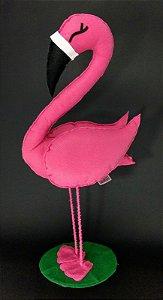 Flamingo em Pé Pink em Feltro - 01 Unidade - Pé de Pano - Rizzo Festas