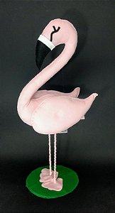 Flamingo em Pé Rosa Claro em Feltro - 01 Unidade - Pé de Pano - Rizzo Festas