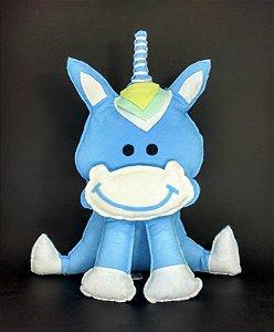 Unicornio Baby Medio Azul em Feltro - 01 Unidade - Pé de Pano - Rizzo Festas