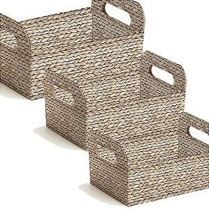 Caixote de Papel Cartão - Palha Trançada - 01 unidade - Cromus - Rizzo Embalagens