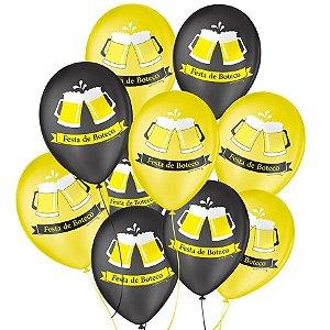 """Balão de Festa Decorado Boteco - Amarelo e Preto 9"""" 23cm - 25 Unidades - São Roque - Rizzo Balões"""