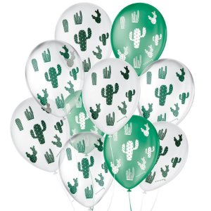 """Balão de Festa Decorado Cacto - Branco Verde e Cristal Sortido 9"""" 23cm - 25 Unidades - São Roque - Rizzo Balões"""