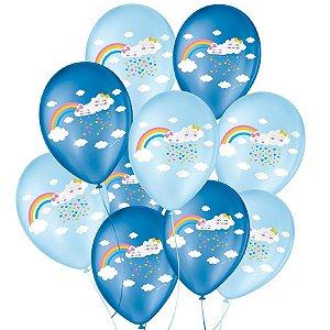 """Balão de Festa Decorado Chuva de Amor - Azul 9"""" 23cm - 25 Unidades - São Roque - Rizzo Balões"""