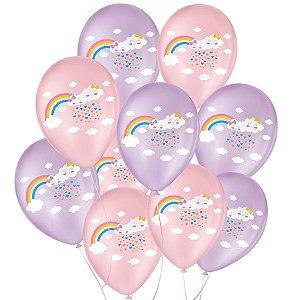 """Balão de Festa Decorado Chuva de Amor - Rosa 9"""" 23cm - 25 Unidades - São Roque - Rizzo Balões"""