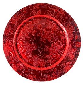 Sousplat com Flores Vermelho 33cm - 01 unidade - Cromus Natal - Rizzo Embalagens