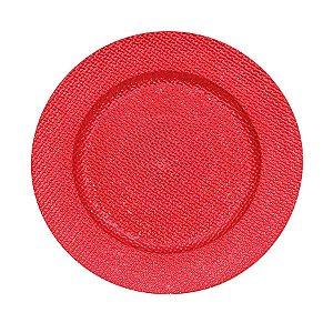 Sousplat Craquelado Vermelho 33cm - 01 unidade - Cromus Natal - Rizzo Embalagens