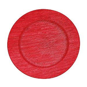 Sousplat Listras Trabalhadas Vermelho 33cm - 01 unidade - Cromus Natal - Rizzo Embalagens