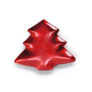 Sousplat Pinheiro Vermelho M 26cm - 01 unidade - Cromus Natal - Rizzo Embalagens