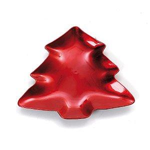 Sousplat Pinheiro Vermelho P 21cm - 01 unidade - Cromus Natal - Rizzo Embalagens