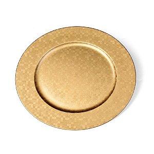 Sousplat Quadriculado Ouro 33cm - 01 unidade - Cromus Natal - Rizzo Embalagens