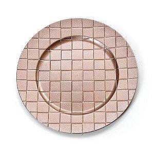 Sousplat Quadriculado Rose Gold 33cm - 01 unidade - Cromus Natal - Rizzo Embalagens