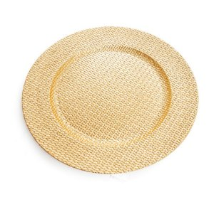 Sousplat Trabalhado Ouro 33cm - 01 unidade - Cromus Natal - Rizzo Embalagens