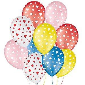"""Balão de Festa Decorado Coração - Sortido 9"""" 23cm - 25 Unidades - São Roque - Rizzo Balões"""
