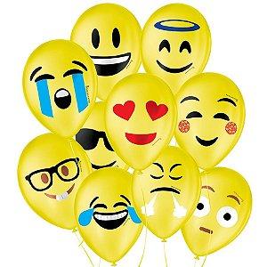"""Balão de Festa Decorado Emoções Emoji - Sortido 9"""" 23cm - 25 Unidades - São Roque - Rizzo Balões"""