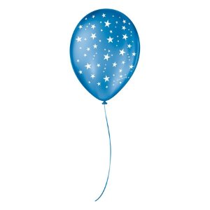 """Balão de Festa Decorado Estrela - Azul Cobalto e Branco 9"""" 23cm - 25 Unidades - São Roque - Rizzo Balões"""