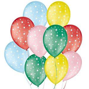 """Balão de Festa Decorado Estrela - Sortido 9"""" 23cm - 25 Unidades - São Roque - Rizzo Balões"""