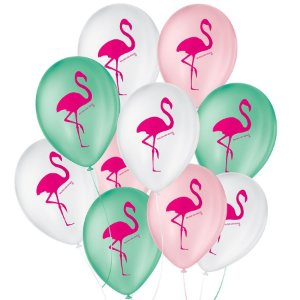 """Balão de Festa Decorado Flamingo - Sortido 9"""" 23cm - 25 Unidades - São Roque - Rizzo Balões"""