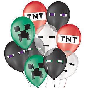 """Balão de Festa Decorado Jogo Pixel - Sortido 9"""" 23cm - 25 Unidades - São Roque - Rizzo Balões"""