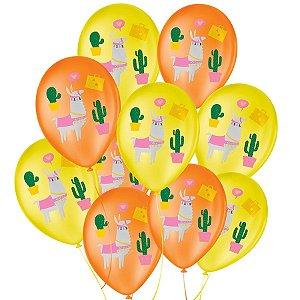 """Balão de Festa Decorado Lhama Amarelo e Laranja - Sortido 9"""" 23cm - 25 Unidades - São Roque - Rizzo Balões"""