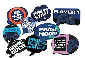 Kit Plaquinhas Divertidas Festa Playstation - 09 unidades - Festcolor - Rizzo Festas